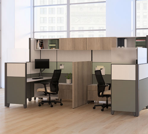 two cubicles with stacked storage