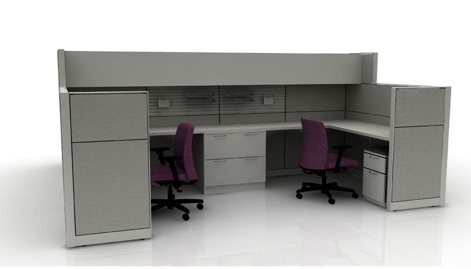 grey back-to-back cubicles