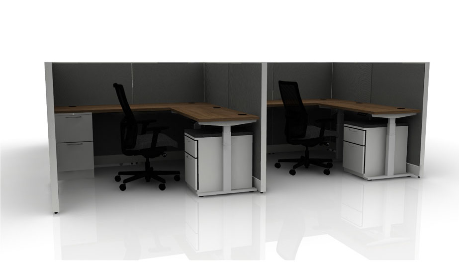 two L-shaped desks with dividers between