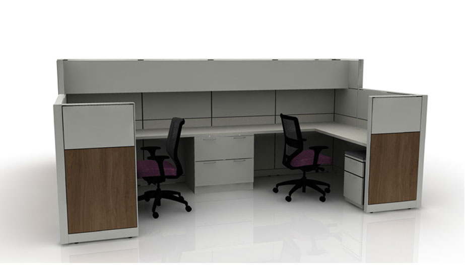 grey cubicle set up with ergonomic chair