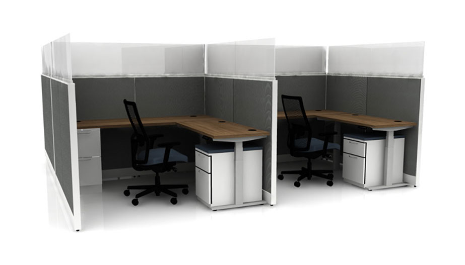 two L-shaped desks with dividers between and plastic dividers
