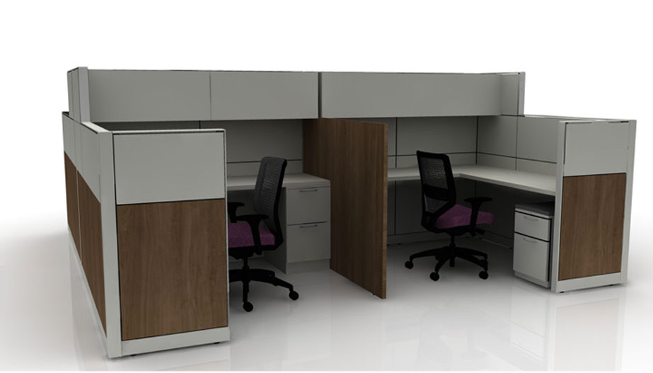 grey and wood cubicles with divider