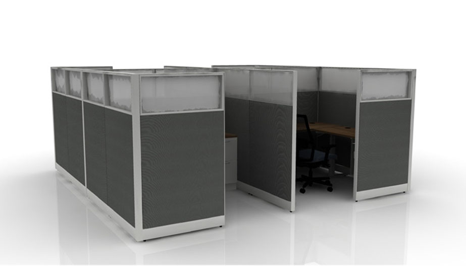 two L-shaped desks with dividers between,plastic dividers on top and more enclosure