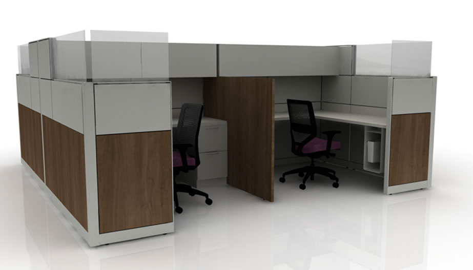 gret and wood cubicles with stacked storage, plastic dividers and wood divider