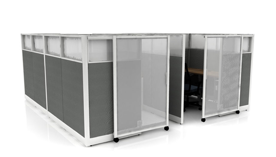 completely enclosed cubicles with sliding doors