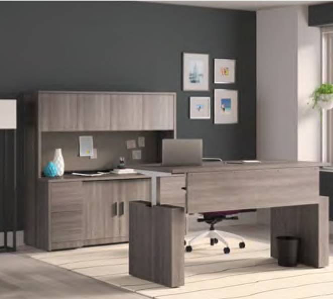 large home office with grey desk and cabinets