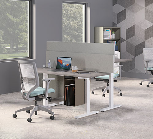 two desk with privacy between