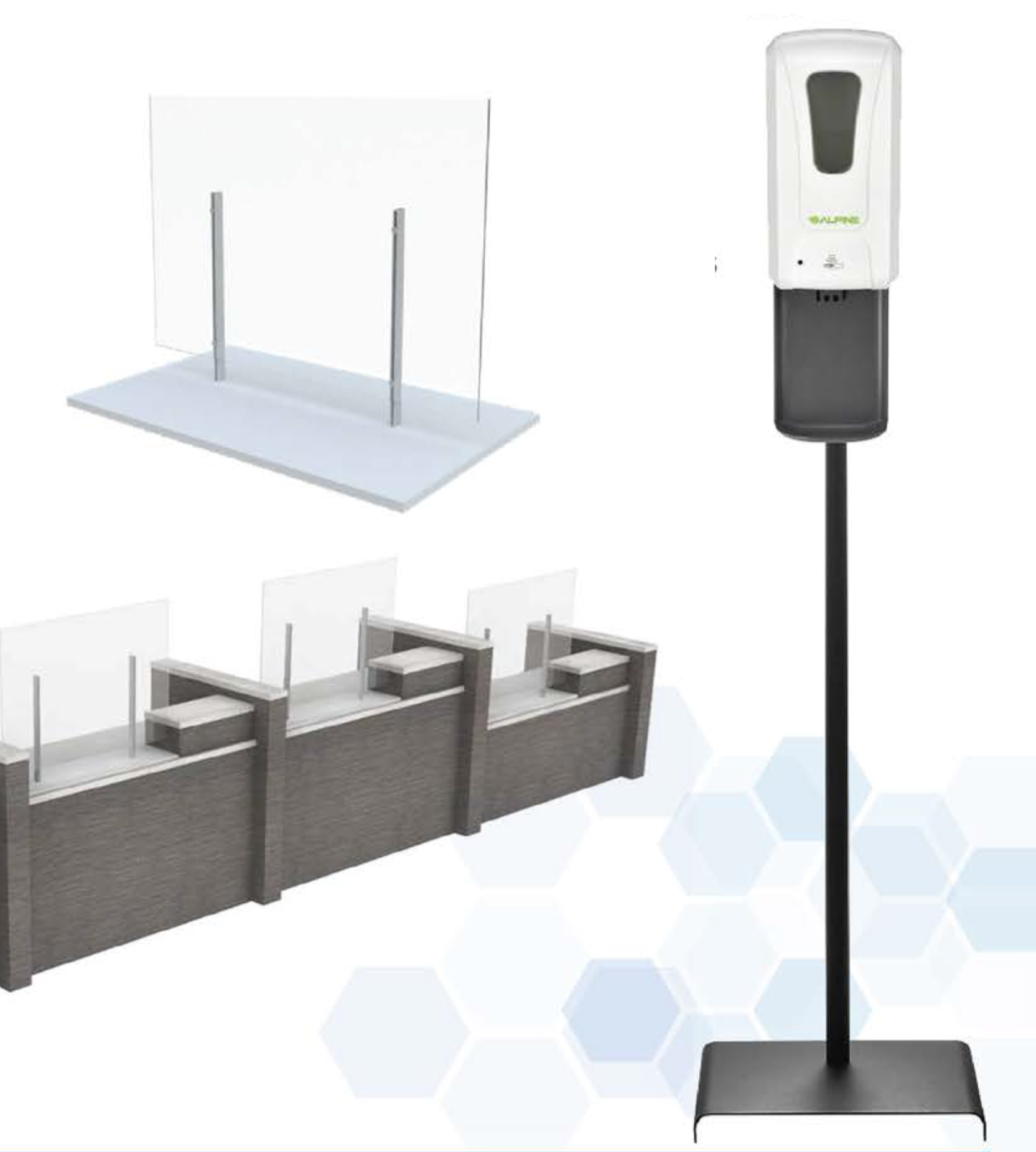 social distancing barriers and a hand sanitizing station