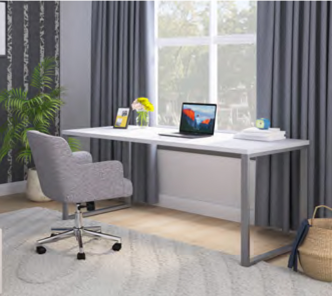 cozy home desk with grey chair at home