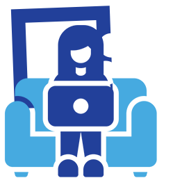 person working on couch icon